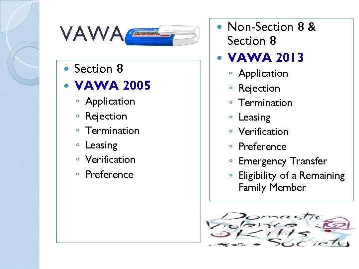VAWA Section 8 VAWA 2005 ◦ ◦ ◦ Application Rejection Termination Leasing Verification Preference