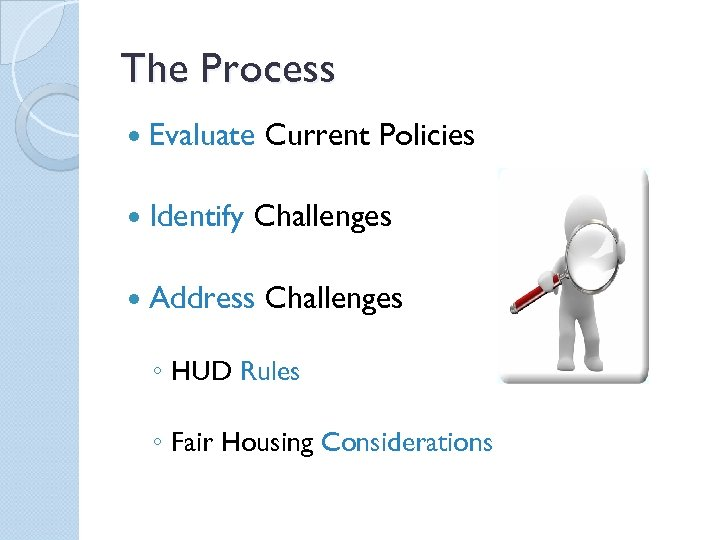 The Process Evaluate Current Policies Identify Challenges Address Challenges ◦ HUD Rules ◦ Fair