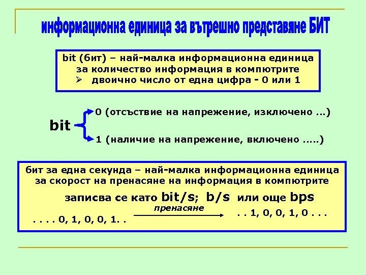 bit (бит) – най-малка информационна единица за количество информация в компютрите Ø двоично число
