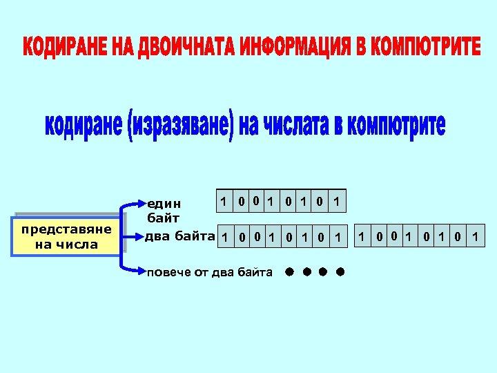 представяне на числа 1 0 0 1 0 1 един байт два байта 1