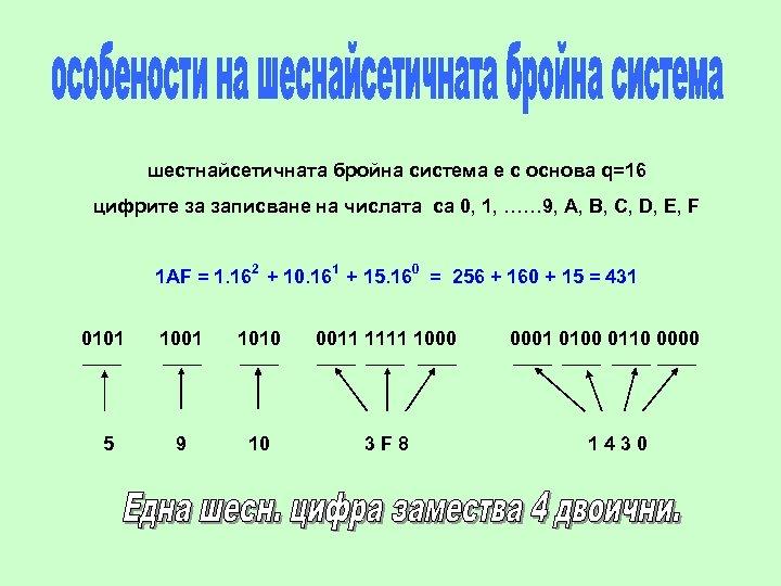 шестнайсетичната бройна система е с основа q=16 цифрите за записване на числата са 0,