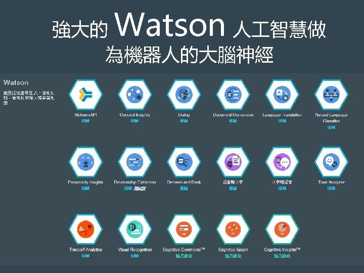 Watson 強大的 人 智慧做 為機器人的大腦神經 © 2014 International Business Machines Corporation 12