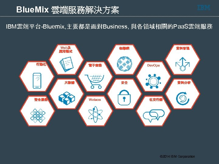 Blue. Mix 雲端服務解決方案 IBM雲端平台-Bluemix, 主要都是面對Business, 與各領域相關的Paa. S雲端服務 Web及 應用程式 行動化 物聯網 整合服務 Dev. Ops