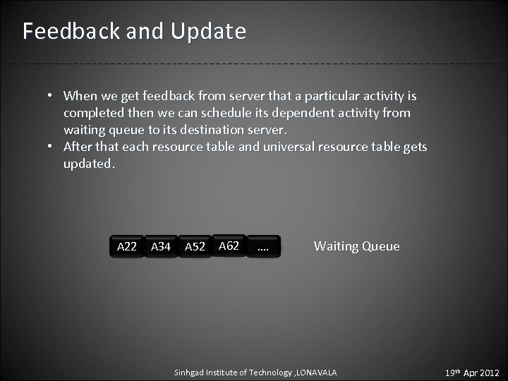 Feedback and Update • When we get feedback from server that a particular activity