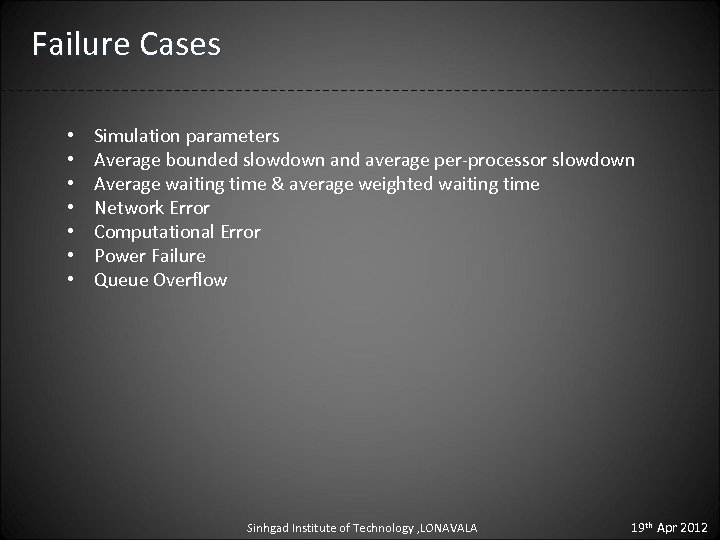 Failure Cases • • Simulation parameters Average bounded slowdown and average per-processor slowdown Average