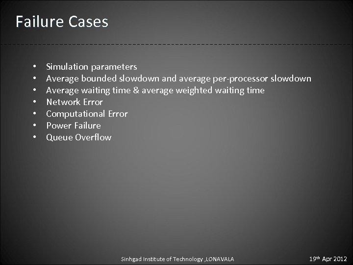 Failure Cases • • Simulation parameters Average bounded slowdown and average per-processor slowdown Average