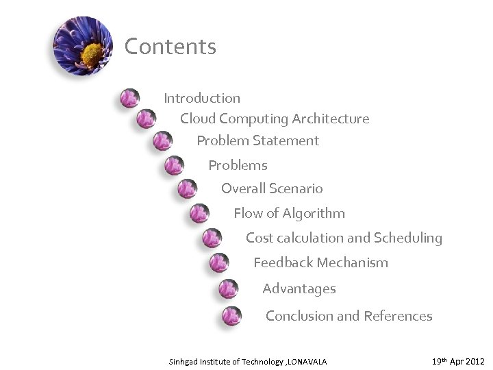 Contents Introduction Cloud Computing Architecture Problem Statement Problems Overall Scenario Flow of Algorithm Cost