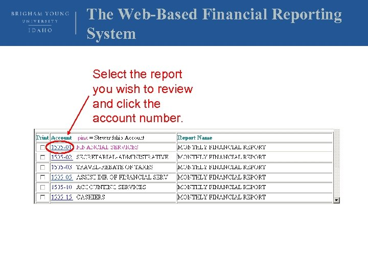 The Web-Based Financial Reporting System Select the report you wish to review and click