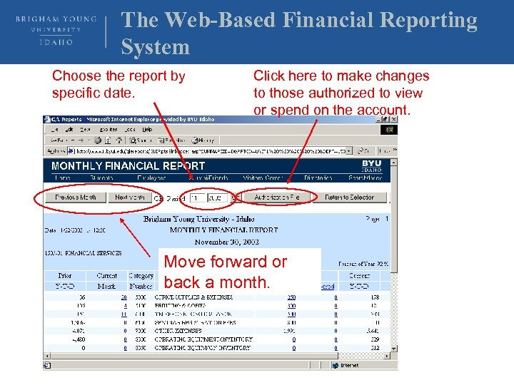 The Web-Based Financial Reporting System Choose the report by specific date. Click here to