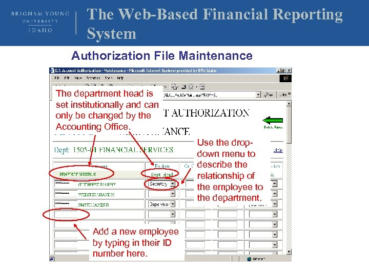The Web-Based Financial Reporting System Authorization File Maintenance The department head is set institutionally