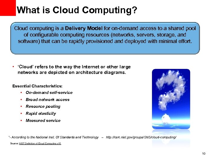 What is Cloud Computing? Cloud computing is a Delivery Model for on-demand access to