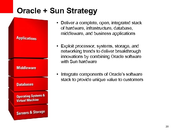 Oracle + Sun Strategy • Deliver a complete, open, integrated stack of hardware, infrastructure,
