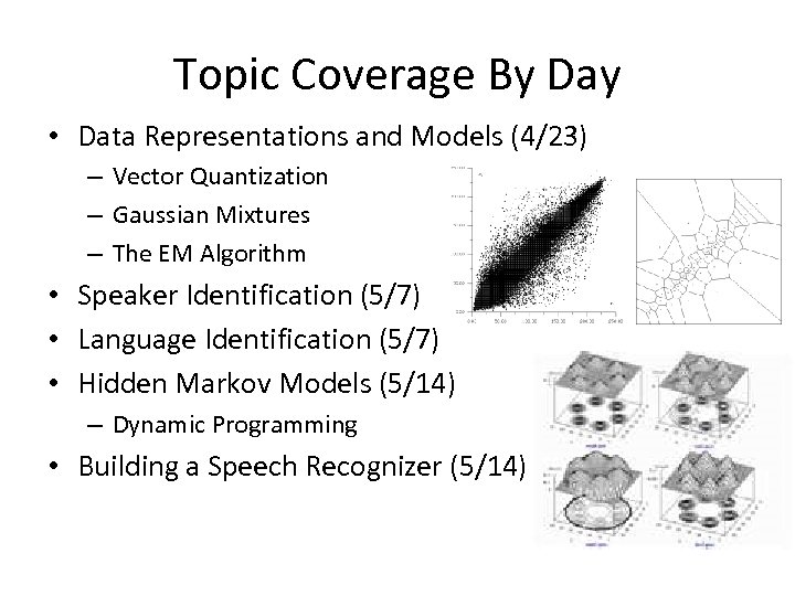 Topic Coverage By Day • Data Representations and Models (4/23) – Vector Quantization –
