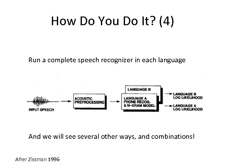 How Do You Do It? (4) Run a complete speech recognizer in each language
