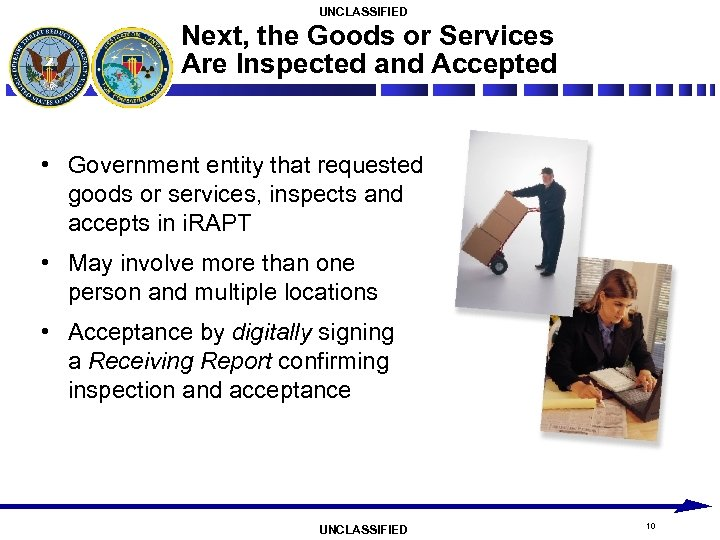 UNCLASSIFIED Next, the Goods or Services Are Inspected and Accepted • Government entity that