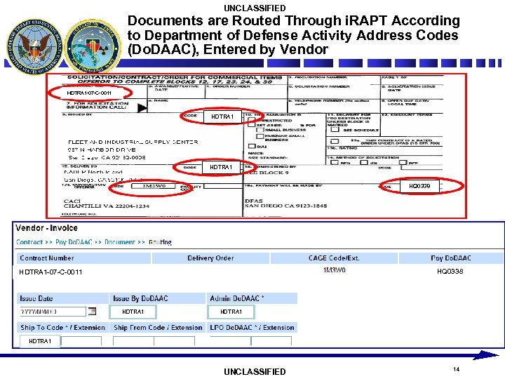UNCLASSIFIED Documents are Routed Through i. RAPT According to Department of Defense Activity Address