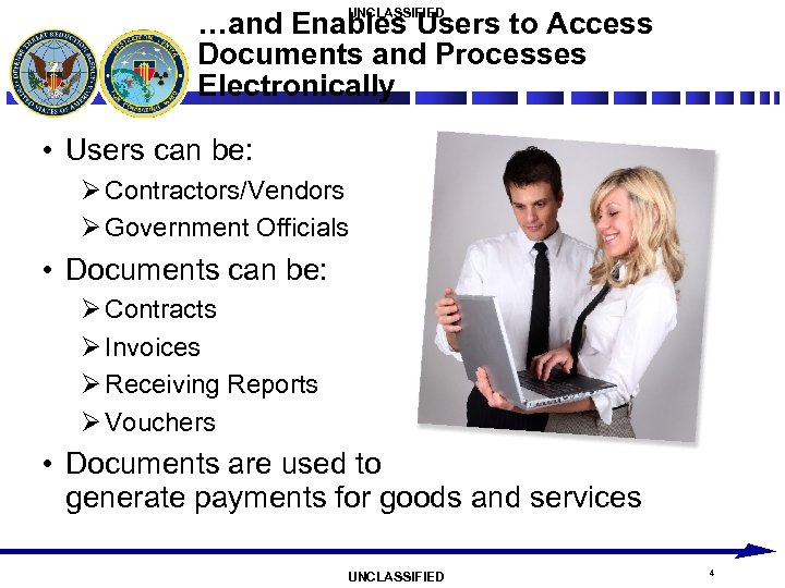 UNCLASSIFIED …and Enables Users to Access Documents and Processes Electronically • Users can be: