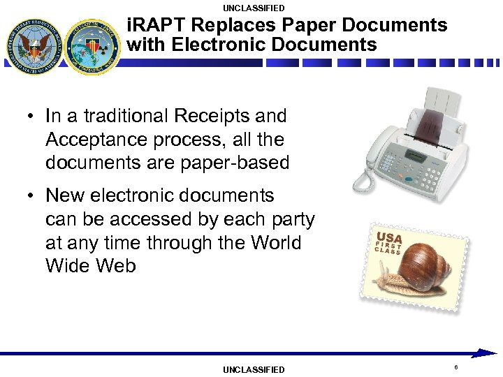 UNCLASSIFIED i. RAPT Replaces Paper Documents with Electronic Documents • In a traditional Receipts