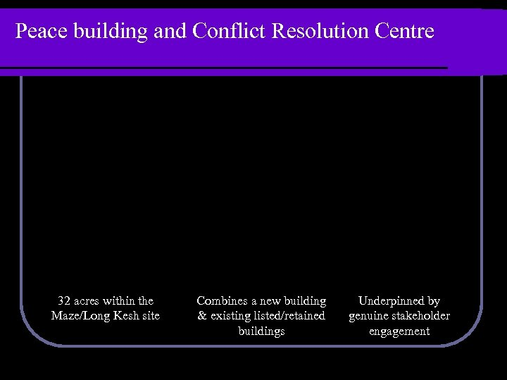 Peace building and Conflict Resolution Centre 32 acres within the Maze/Long Kesh site Combines