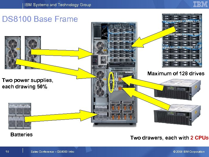 IBM Systems and Technology Group DS 8100 Base Frame Maximum of 128 drives Two