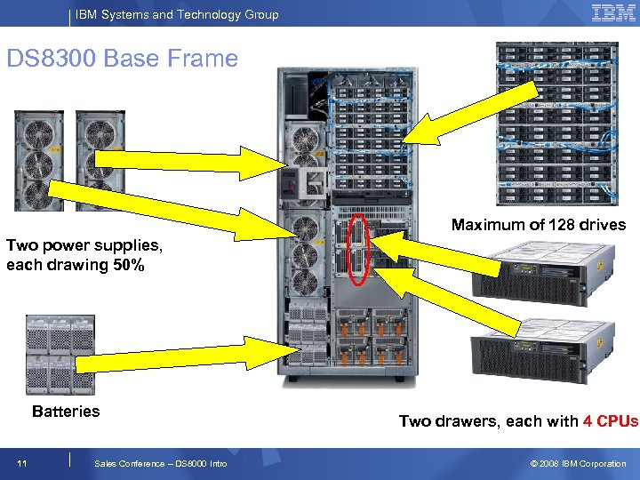 IBM Systems and Technology Group DS 8300 Base Frame Maximum of 128 drives Two