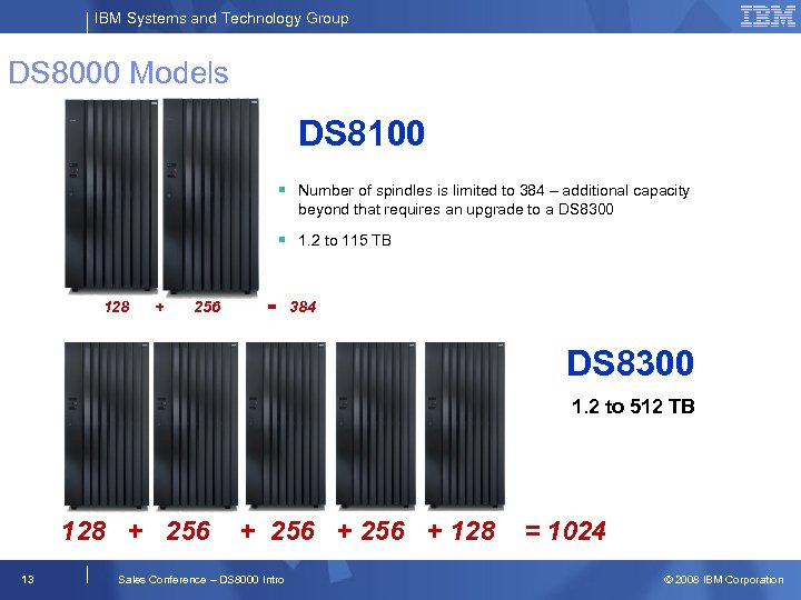 IBM Systems and Technology Group DS 8000 Models DS 8100 § Number of spindles