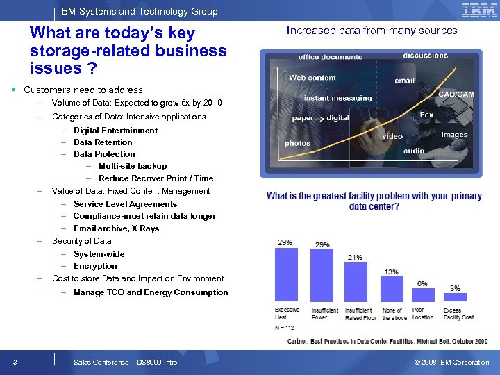 IBM Systems and Technology Group What are today's key storage-related business issues ? Increased