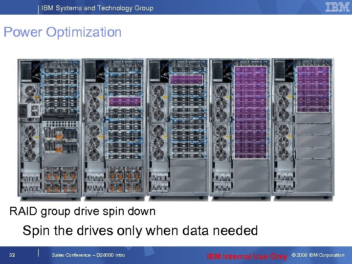 IBM Systems and Technology Group Power Optimization RAID group drive spin down Spin the