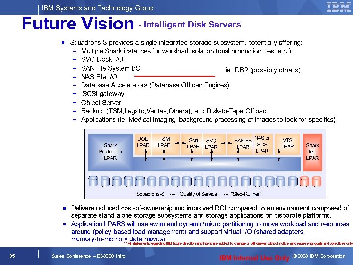 IBM Systems and Technology Group Future Vision - Intelligent Disk Servers ie: DB 2