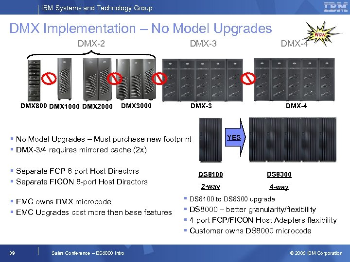 IBM Systems and Technology Group DMX Implementation – No Model Upgrades DMX-2 DMX 800