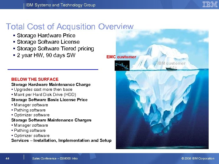 IBM Systems and Technology Group Total Cost of Acqusition Overview § Storage Hardware Price