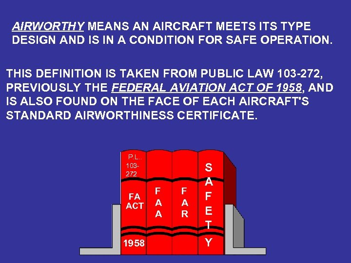 AIRWORTHY MEANS AN AIRCRAFT MEETS ITS TYPE DESIGN AND IS IN A CONDITION FOR