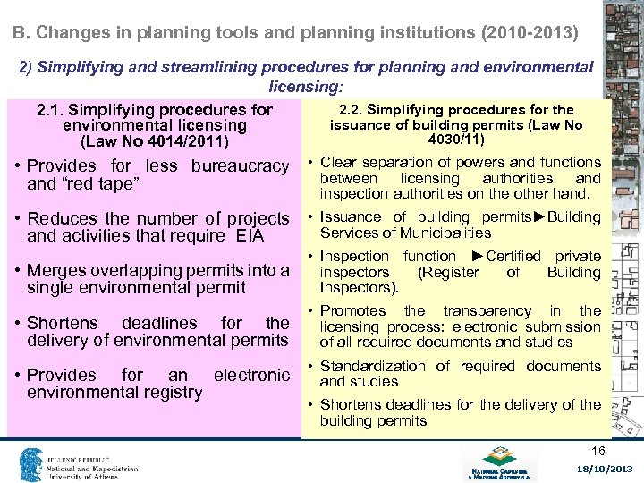 B. Changes in planning tools and planning institutions (2010 -2013) 2) Simplifying and streamlining