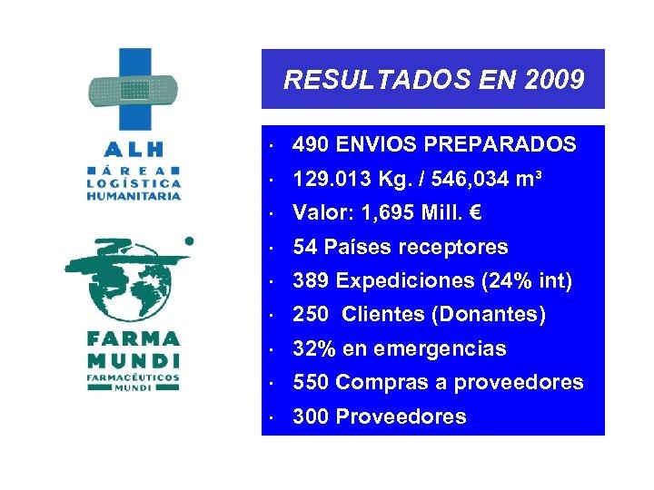 RESULTADOS EN 2009 × 490 ENVIOS PREPARADOS × 129. 013 Kg. / 546, 034