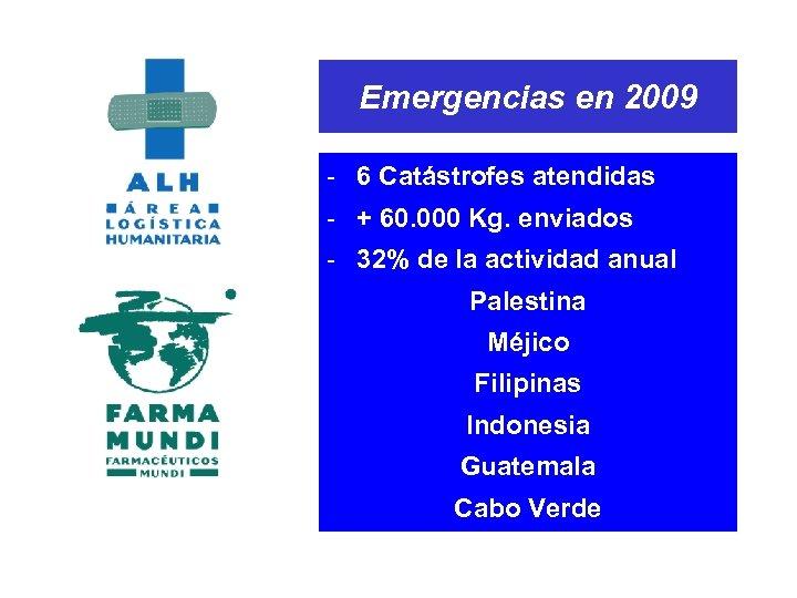 Emergencias en 2009 - 6 Catástrofes atendidas - + 60. 000 Kg. enviados -