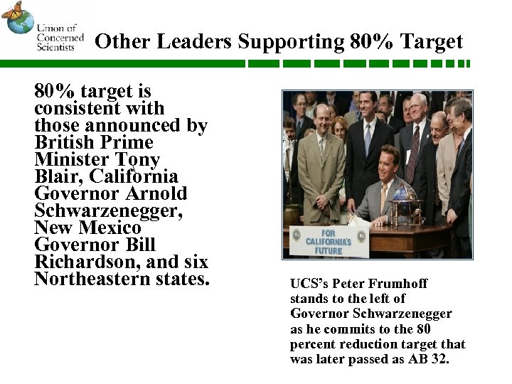 Other Leaders Supporting 80% Target 80% target is consistent with those announced by British