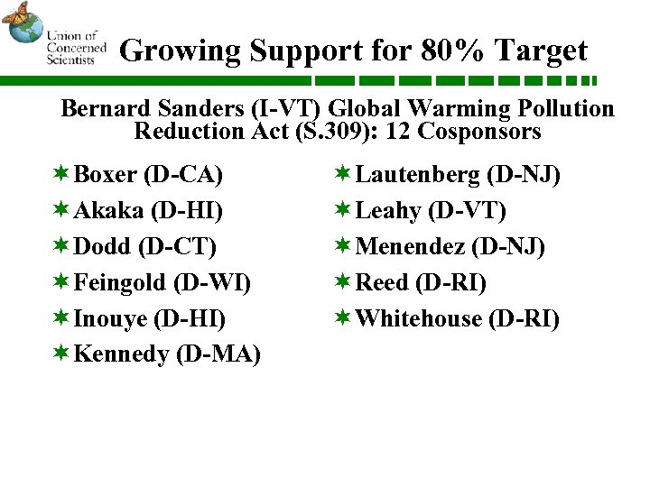 Growing Support for 80% Target Bernard Sanders (I-VT) Global Warming Pollution Reduction Act (S.