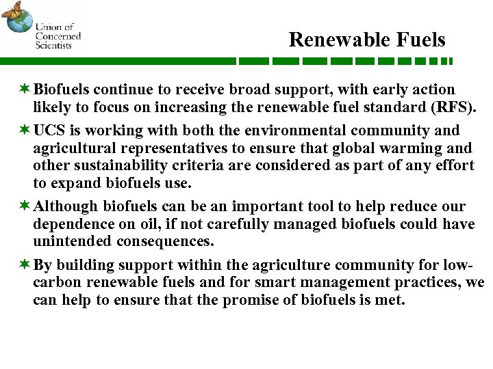 Renewable Fuels ¬Biofuels continue to receive broad support, with early action likely to focus