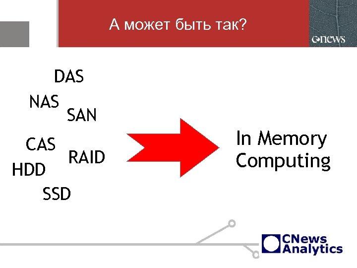 А может быть так? DAS NAS SAN CAS RAID HDD SSD In Memory Computing