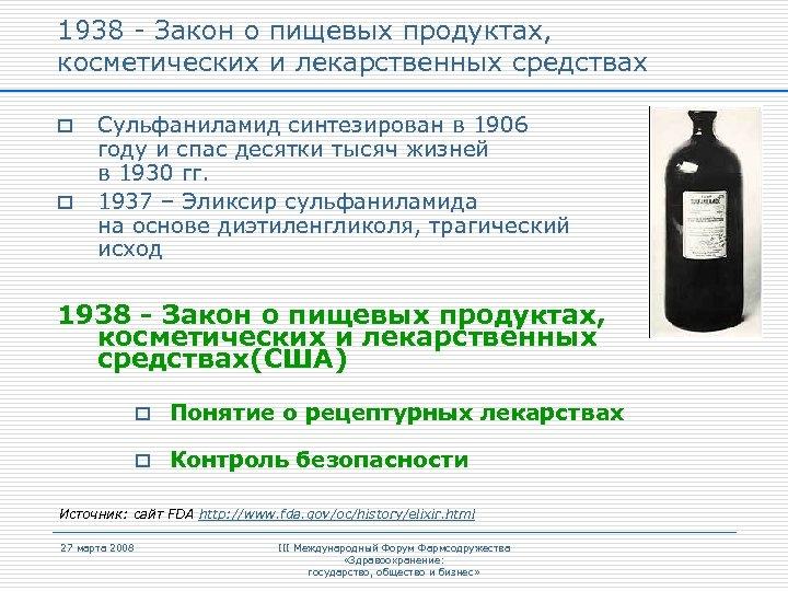 1938 - Закон о пищевых продуктах, косметических и лекарственных средствах o o Сульфаниламид синтезирован