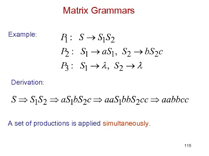 Matrix Grammars Example: Derivation: A set of productions is applied simultaneously. 115
