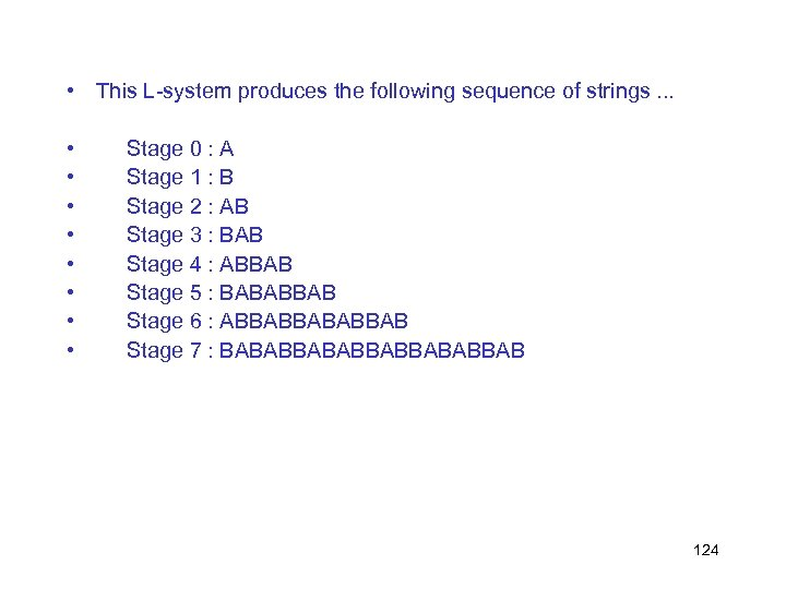 • This L-system produces the following sequence of strings. . . • •