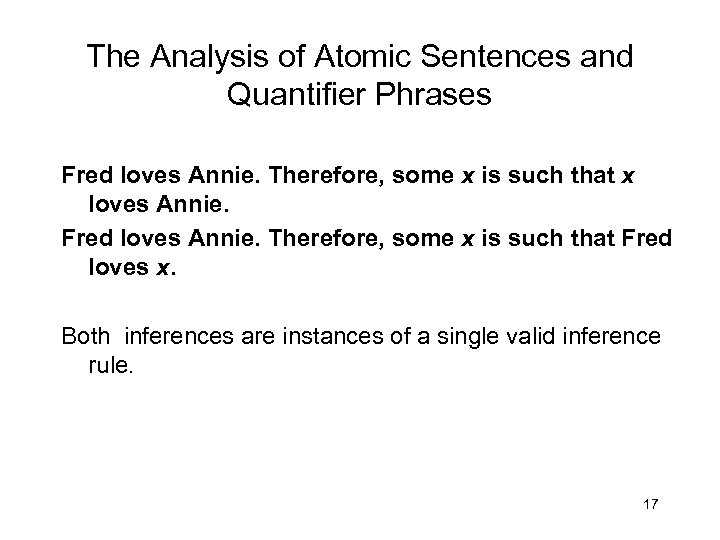 The Analysis of Atomic Sentences and Quantifier Phrases Fred loves Annie. Therefore, some x