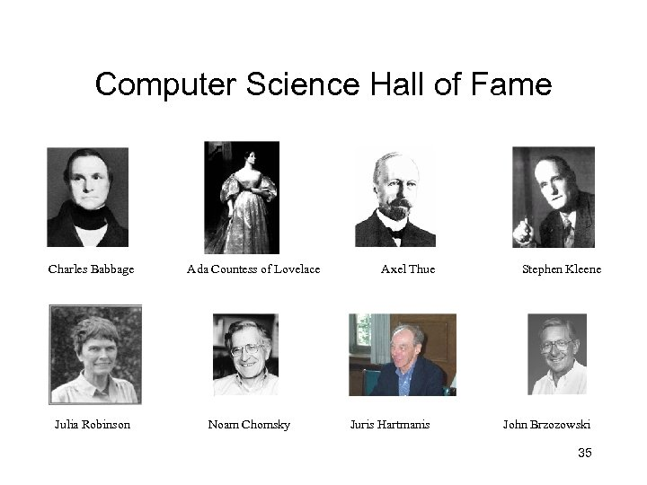 Computer Science Hall of Fame Charles Babbage Julia Robinson Ada Countess of Lovelace Noam