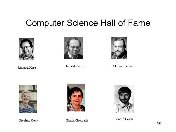 Computer Science Hall of Fame Richard Karp Stephen Cook Donald Knuth Sheila Greibach Manuel