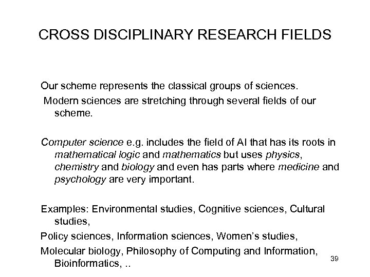 CROSS DISCIPLINARY RESEARCH FIELDS Our scheme represents the classical groups of sciences. Modern sciences