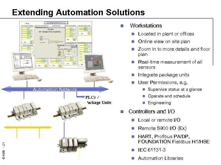Extending Automation Solutions n Workstations n Located in plant or offices n Online view