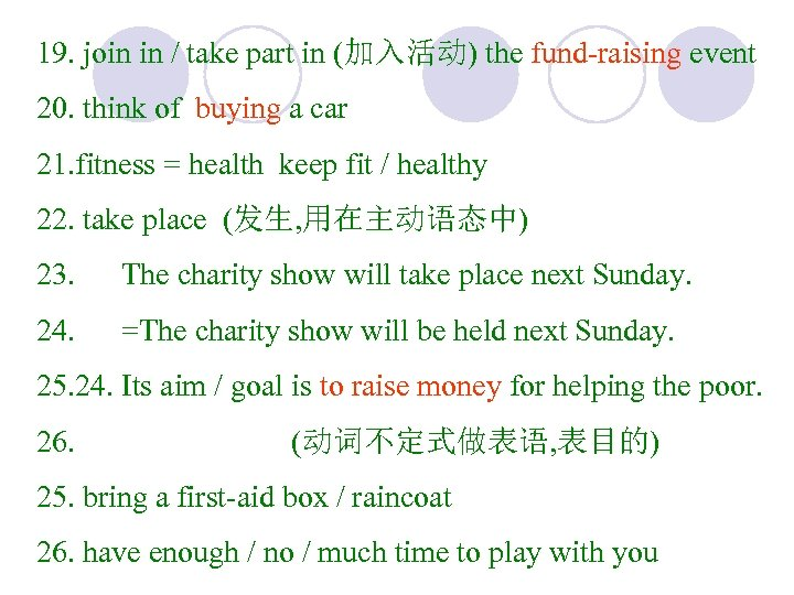 19. join in / take part in (加入活动) the fund-raising event 20. think of