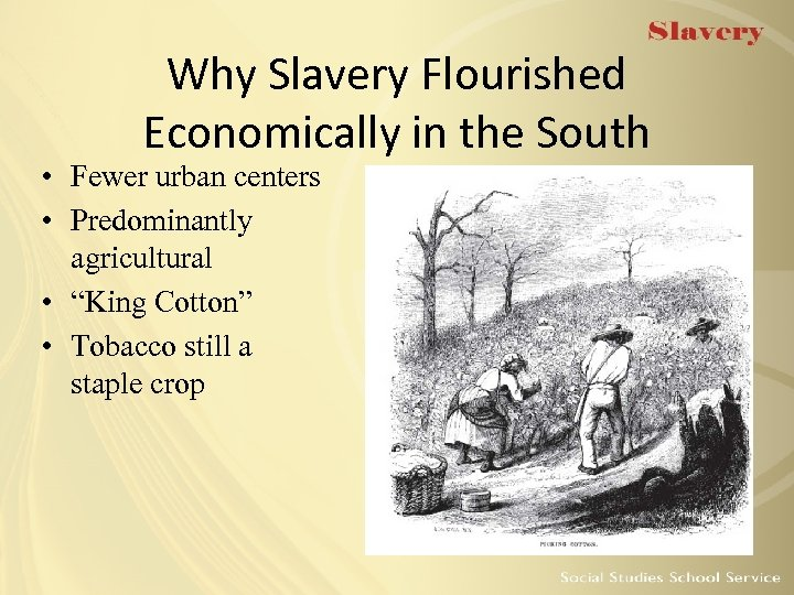 Why Slavery Flourished Economically in the South • Fewer urban centers • Predominantly agricultural