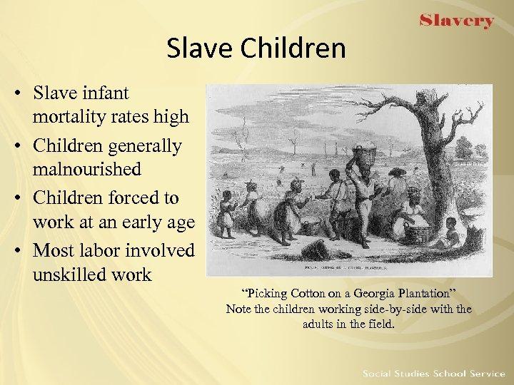 Slave Children • Slave infant mortality rates high • Children generally malnourished • Children